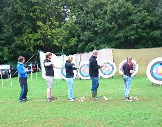 "B.O.A archers ""checking equipment"" at Havering show."